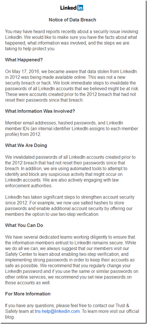 Important information about your LinkedIn account